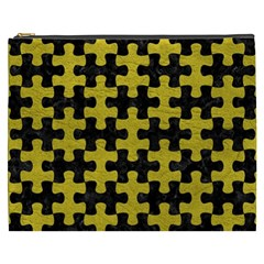 Puzzle1 Black Marble & Yellow Leather Cosmetic Bag (xxxl)