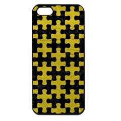 Puzzle1 Black Marble & Yellow Leather Apple Iphone 5 Seamless Case (black)