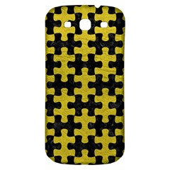 Puzzle1 Black Marble & Yellow Leather Samsung Galaxy S3 S Iii Classic Hardshell Back Case