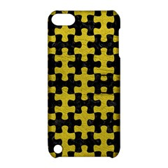 Puzzle1 Black Marble & Yellow Leather Apple Ipod Touch 5 Hardshell Case With Stand