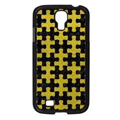 Puzzle1 Black Marble & Yellow Leather Samsung Galaxy S4 I9500/ I9505 Case (black)
