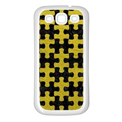 Puzzle1 Black Marble & Yellow Leather Samsung Galaxy S3 Back Case (white)