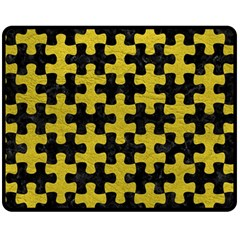 Puzzle1 Black Marble & Yellow Leather Double Sided Fleece Blanket (medium)