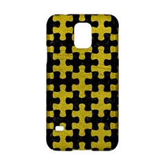Puzzle1 Black Marble & Yellow Leather Samsung Galaxy S5 Hardshell Case