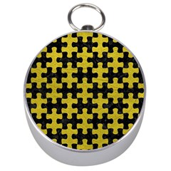 Puzzle1 Black Marble & Yellow Leather Silver Compasses