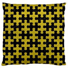 Puzzle1 Black Marble & Yellow Leather Large Flano Cushion Case (one Side)