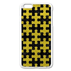 Puzzle1 Black Marble & Yellow Leather Apple Iphone 6 Plus/6s Plus Enamel White Case