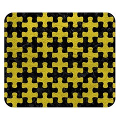 Puzzle1 Black Marble & Yellow Leather Double Sided Flano Blanket (small)