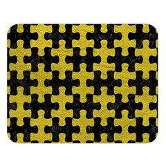 Puzzle1 Black Marble & Yellow Leather Double Sided Flano Blanket (large)