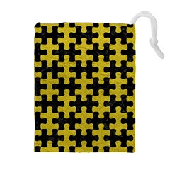 Puzzle1 Black Marble & Yellow Leather Drawstring Pouches (extra Large)