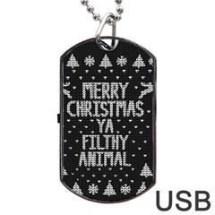 Ugly Christmas Sweater Dog Tag Usb Flash (two Sides)