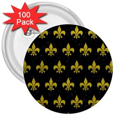 Royal1 Black Marble & Yellow Leather 3  Buttons (100 Pack)