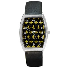 Royal1 Black Marble & Yellow Leather Barrel Style Metal Watch