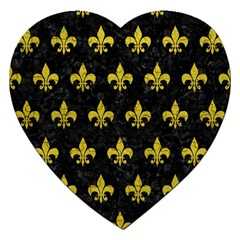 Royal1 Black Marble & Yellow Leather Jigsaw Puzzle (heart)