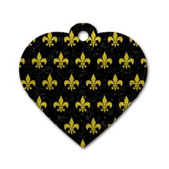 Royal1 Black Marble & Yellow Leather Dog Tag Heart (two Sides)