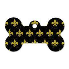 Royal1 Black Marble & Yellow Leather Dog Tag Bone (one Side)