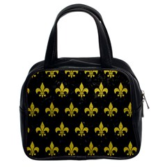 Royal1 Black Marble & Yellow Leather Classic Handbags (2 Sides)