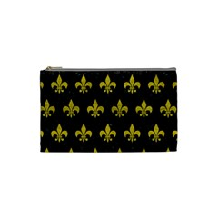 Royal1 Black Marble & Yellow Leather Cosmetic Bag (small)
