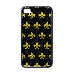 Royal1 Black Marble & Yellow Leather Apple Iphone 4 Case (black)