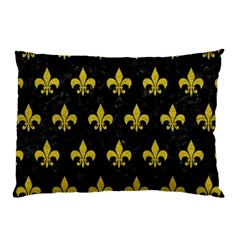 Royal1 Black Marble & Yellow Leather Pillow Case (two Sides)