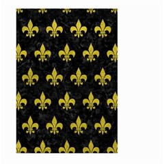 Royal1 Black Marble & Yellow Leather Large Garden Flag (two Sides)