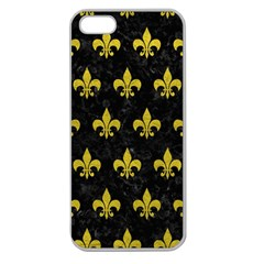 Royal1 Black Marble & Yellow Leather Apple Seamless Iphone 5 Case (clear)