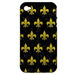 Royal1 Black Marble & Yellow Leather Apple Iphone 4/4s Hardshell Case (pc+silicone)