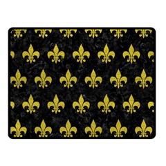 Royal1 Black Marble & Yellow Leather Double Sided Fleece Blanket (small)