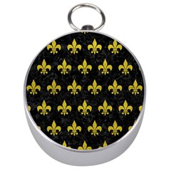 Royal1 Black Marble & Yellow Leather Silver Compasses