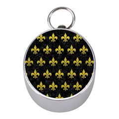Royal1 Black Marble & Yellow Leather Mini Silver Compasses