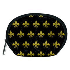 Royal1 Black Marble & Yellow Leather Accessory Pouches (medium)