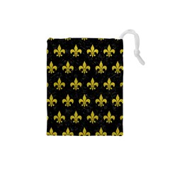 Royal1 Black Marble & Yellow Leather Drawstring Pouches (small)