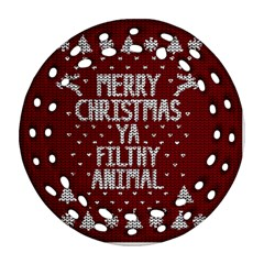 Ugly Christmas Sweater Round Filigree Ornament (two Sides)