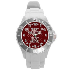 Ugly Christmas Sweater Round Plastic Sport Watch (l)