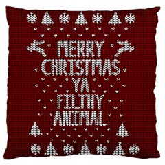 Ugly Christmas Sweater Large Cushion Case (two Sides)