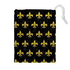 Royal1 Black Marble & Yellow Leather Drawstring Pouches (extra Large)