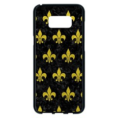 Royal1 Black Marble & Yellow Leather Samsung Galaxy S8 Plus Black Seamless Case
