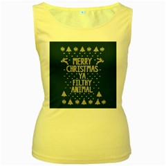 Ugly Christmas Sweater Women s Yellow Tank Top