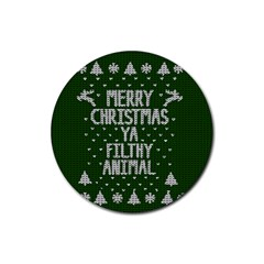 Ugly Christmas Sweater Rubber Coaster (round)