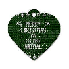 Ugly Christmas Sweater Dog Tag Heart (one Side)