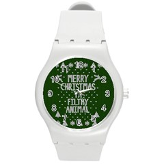Ugly Christmas Sweater Round Plastic Sport Watch (m)