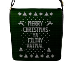 Ugly Christmas Sweater Flap Messenger Bag (l)