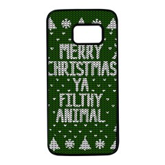 Ugly Christmas Sweater Samsung Galaxy S7 Black Seamless Case