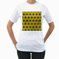 Royal1 Black Marble & Yellow Leather (r) Women s T Shirt (white) (two Sided)