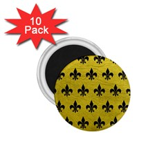 Royal1 Black Marble & Yellow Leather (r) 1 75  Magnets (10 Pack)