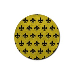 Royal1 Black Marble & Yellow Leather (r) Rubber Round Coaster (4 Pack)