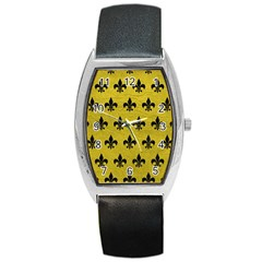 Royal1 Black Marble & Yellow Leather (r) Barrel Style Metal Watch