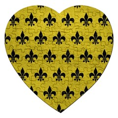 Royal1 Black Marble & Yellow Leather (r) Jigsaw Puzzle (heart)