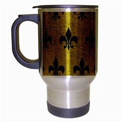 Royal1 Black Marble & Yellow Leather (r) Travel Mug (silver Gray)