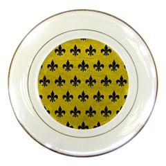 Royal1 Black Marble & Yellow Leather (r) Porcelain Plates